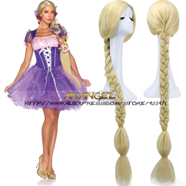 nouveau style 120 cm de long raiponce tangled blond cosplay droite cheveux grande tresse pour. Black Bedroom Furniture Sets. Home Design Ideas