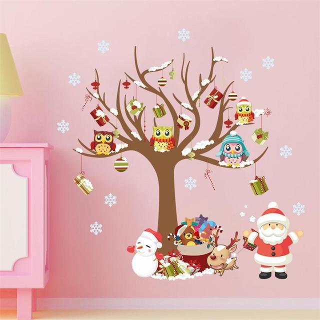 Счастливого Рождества Елка Дед Мороз Подарки Снеговик Новогодняя вечеринка декора дома стикера стены магазин детская комната окна наклейки, деколи