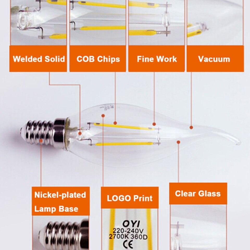 LightInBox Ampoule Led Bulbs Energy Saving Lamp Edison Led Bombilla 1pcs E14 Glass Led Filament Candle Light Home Lighting