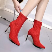 Stretch Boots Winter Women Pointed Toe Socks Boots Zipper Short Shoes Ladies High Heels 9CM Suede Footwear Boots Wedding Shoes
