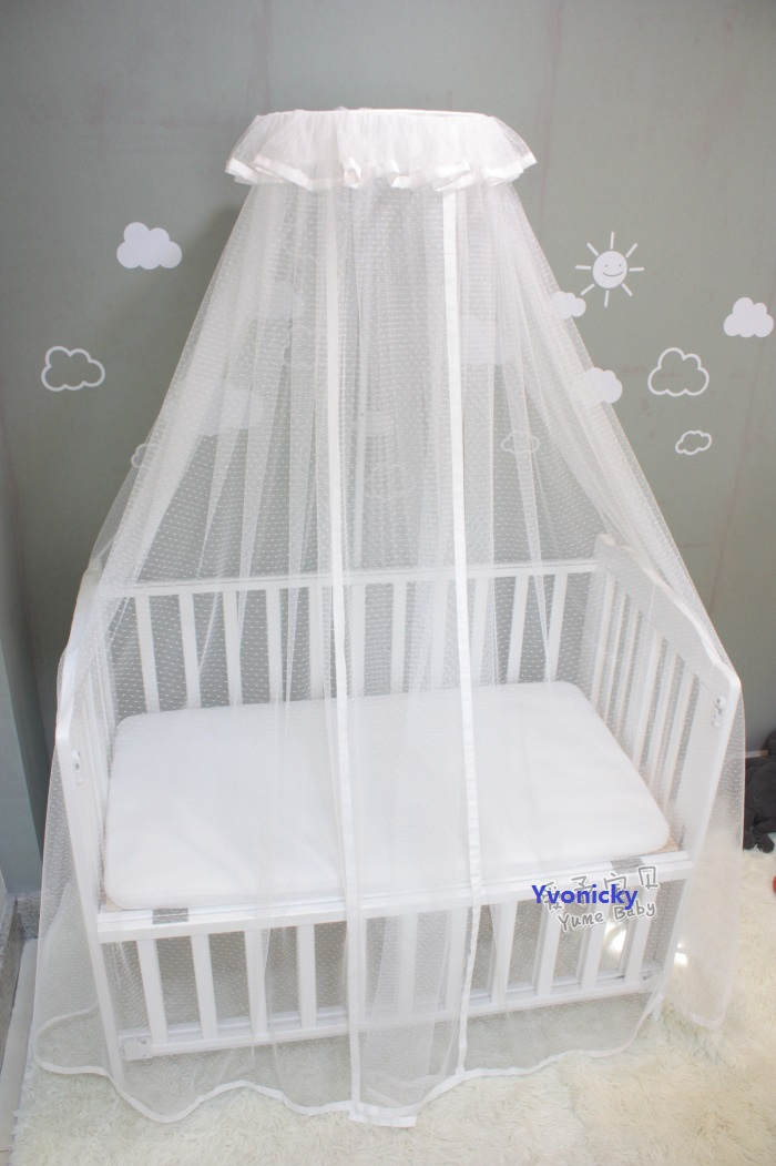 Luxury Princess Baby Crib Mosquito Net Brief White Infants Bed canopy Kids Summer Round Netting Protector Boys Girls Bed Valance in Mosquito Net from Home Garden