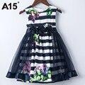 A15 party girls vestidos niños marino elegante 2017 del verano muchachas del vestido del bebé Vestido del tutú del Cumpleaños de La Muchacha Vestidos de Tamaño 6 9 Años 3 8 10