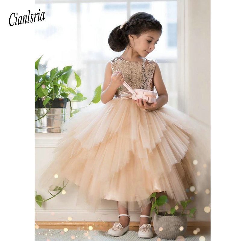 Champagne Tulle   Flower     Girl     Dress   Birthday Wedding Party Holiday Gold Sequins Communion   Dresses   Pageant Gown For   Girls   Vestido
