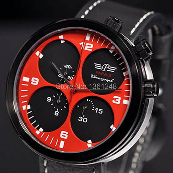 48mm Parnis Big Face red dial black PVD sandwich dial day date mens quartz WATCH Full chronograph P48 цена