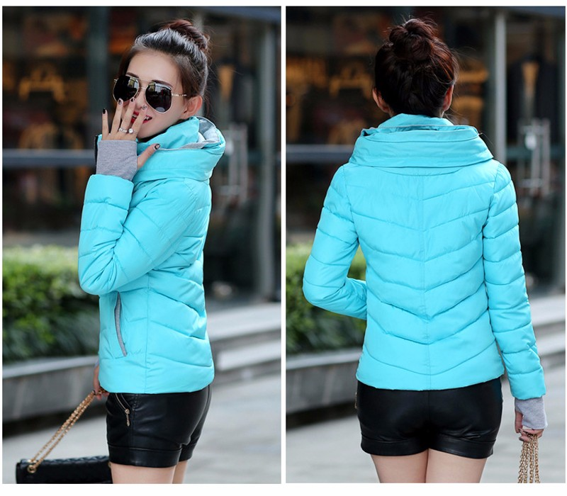 Winter Jacket Women Parkas Thicken Outerwear solid hooded Coats Short 28