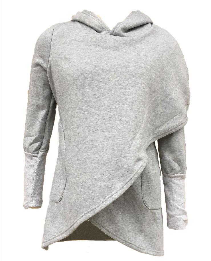 Sudadera de terciopelo irregular con capucha para mujer