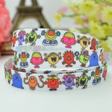 "DUWES 3/8"" 9mm mr men and little miss Printed grosgrain ribbon hair bow DIY handmade wholesale Customization OEM 50YD(China)"