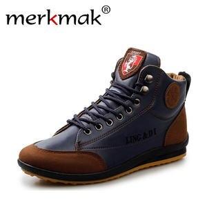 8c954990e647 merkmak 2018 leather Warm ankle boots men Shoes footwear