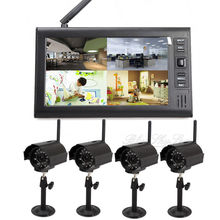 Free shipping!4in1 7″ TFT Digital 2.4G Wireless IR Cameras Baby Monitor Security 4CH Quad DVR