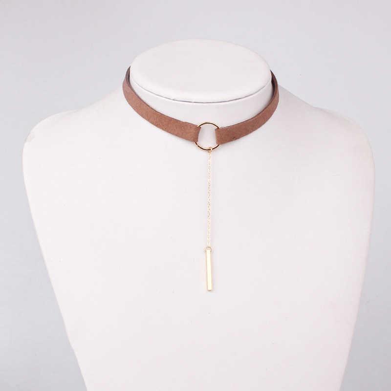 2017 Black Brown Silver Gold Circle Velvet Choker Necklace Gothic Women Fashion Collar Best Friends Pendants Necklaces Jewelry