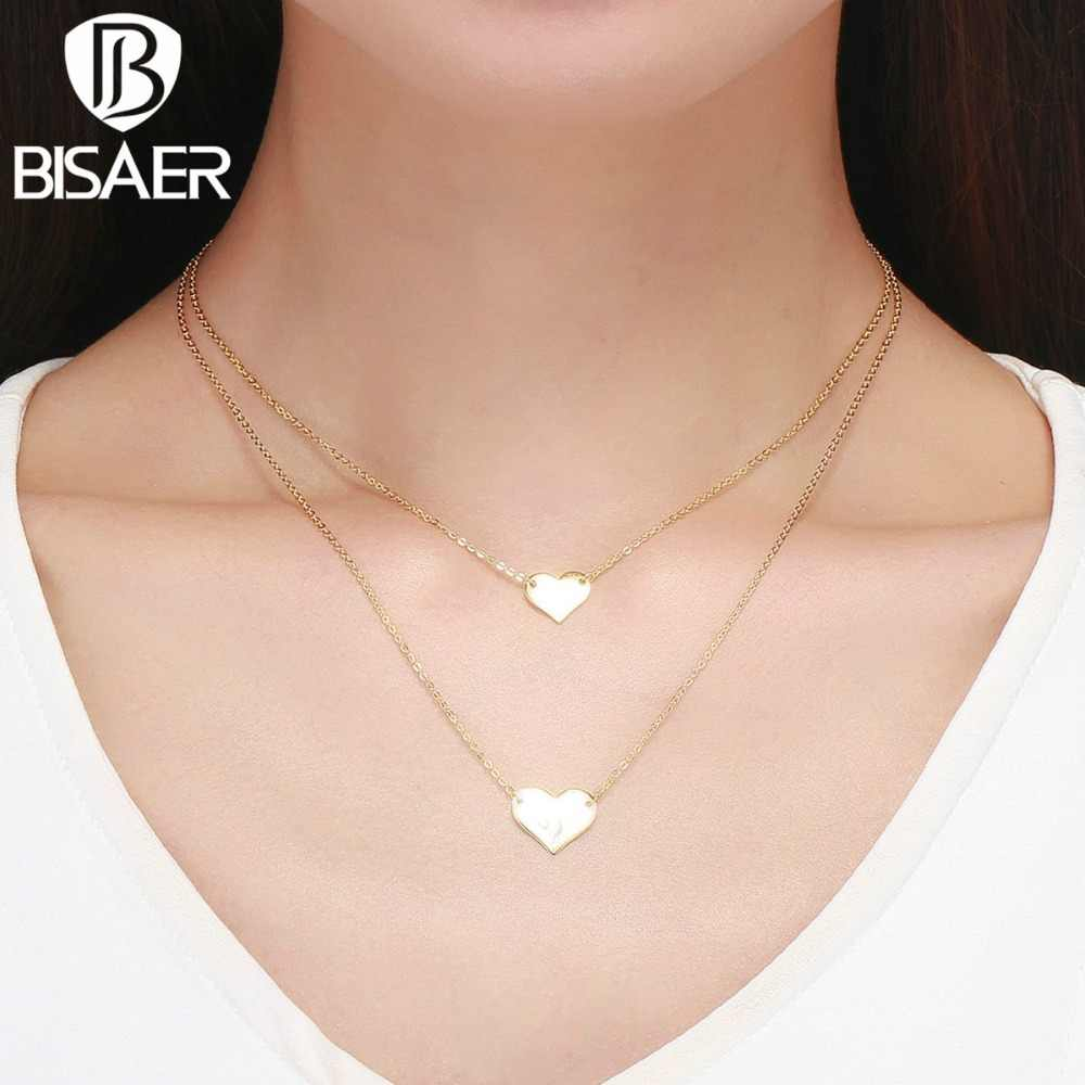 BISAER סגסוגת בציר זהב צבע כוכבים מתכת קולר שרשראות לנשים לב כפול שכבות שרשרת תכשיטים GBN003