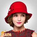 2016 New Feminino Vintage Wool Hat Winter Women Fashion Flower Fedora Hats Ladies Trilby Quality Dome Hat  B-3211