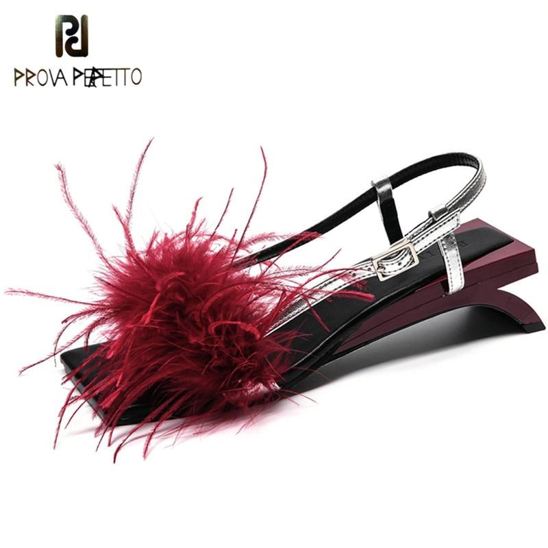 Prova Perfetto 2018 New Design Feather Women Sandals Strange Heel Gladiator Sandals Women Fur Low Heels
