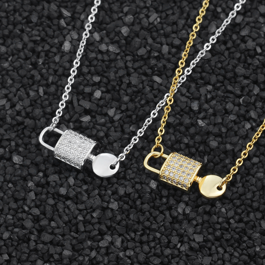 Personalized CZ Lock Key Statement Necklace For Women Fashion Jewelry Gold Color Chain Creative Choker Femme Collier