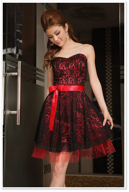 Free Shippingsexy Strapless Casual Dress Red Cocktail Dress Lace