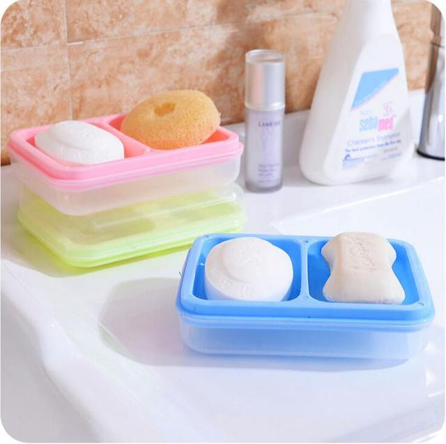 Large 2 Piece Double Layer Soap Box Portable Household Draining Soap Tray  Dish Holder Bathroom