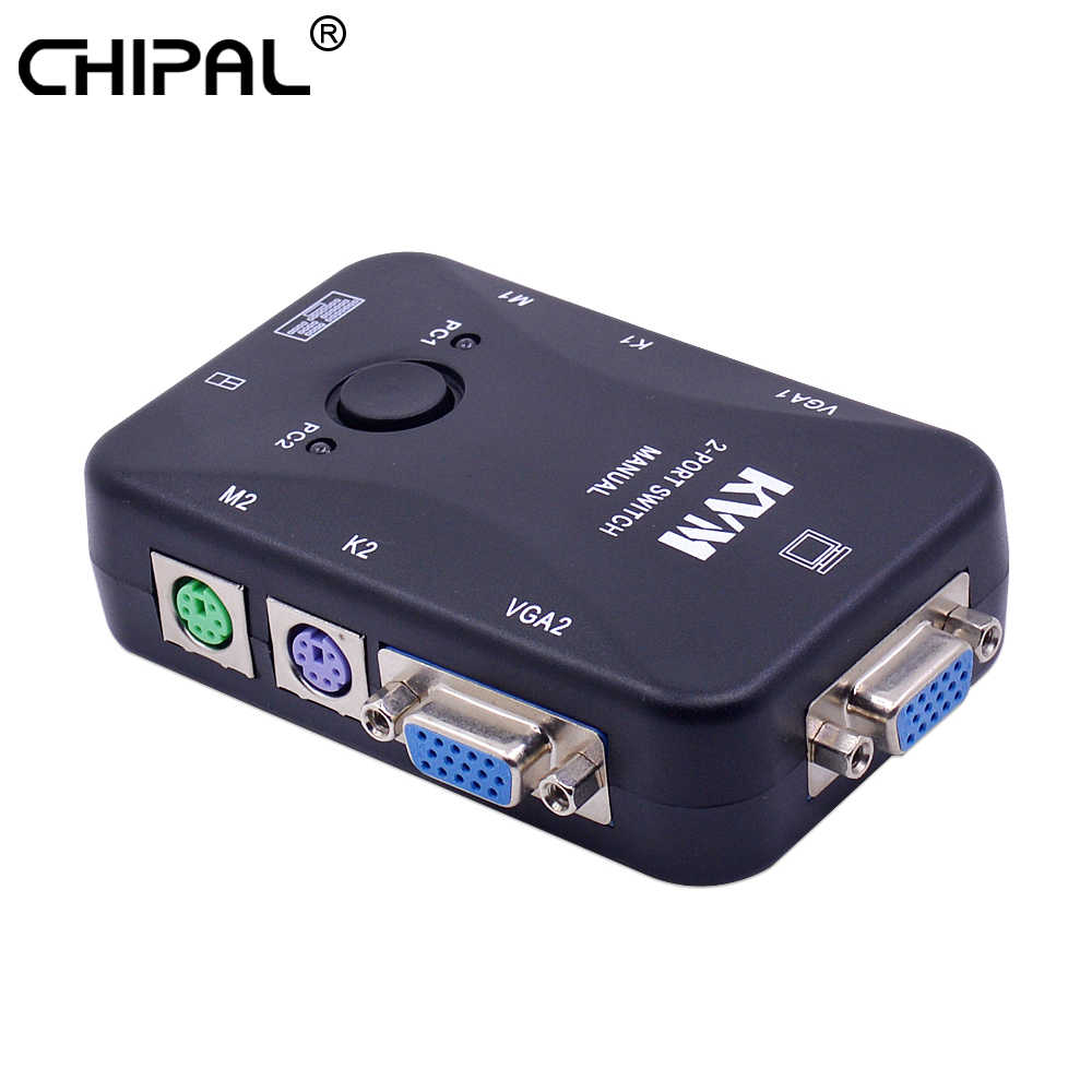 Chipal 2 Port PS/2 KVM Switch Switcher 1920*1440 VGA SVGA Switch Splitter Box Controller untuk Keyboard mouse Monitor Adaptor