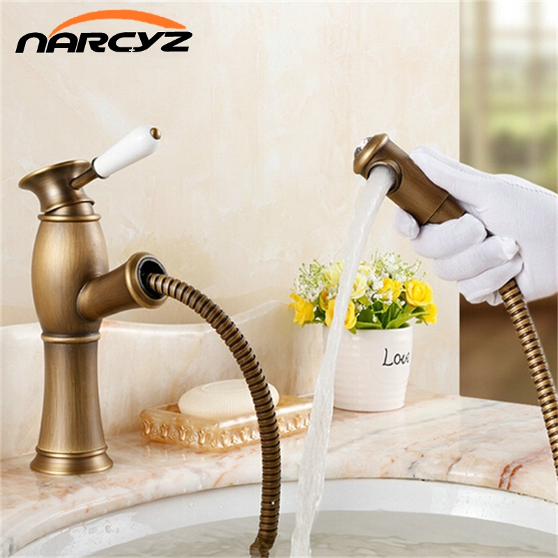 Retro Europe brass antique pull out rotate single hole single handle basin faucet AF1006Retro Europe brass antique pull out rotate single hole single handle basin faucet AF1006
