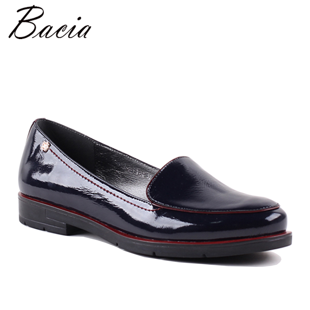 Bacia Newest Women Genuine Leather Shoes Blue Color Flats Handmade High Quality Shoes Casual Solid Slip-on Flats MWA010 newest women solid color flock leather