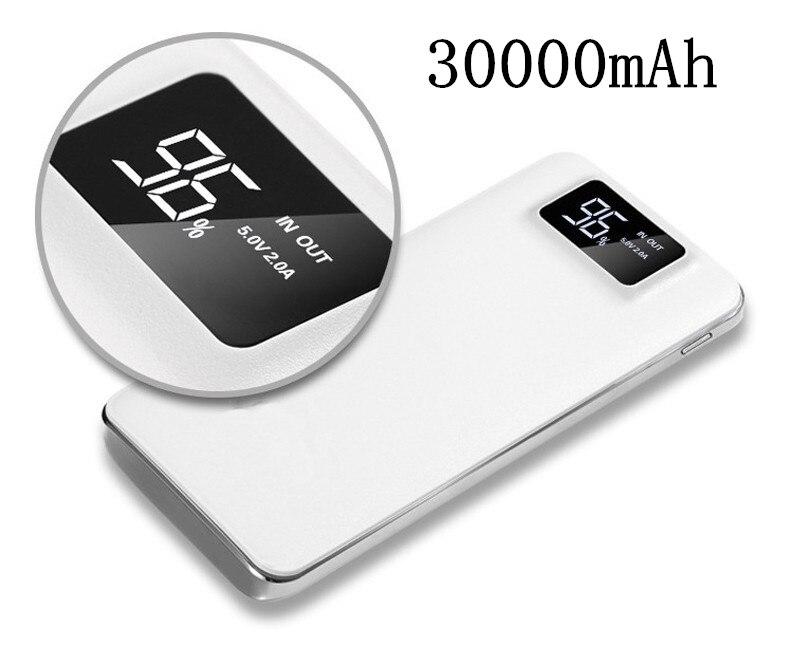 2018 nuevo banco de la energía 30000 MAH para Xiao mi 2 USB PowerBank cargador portátil de la batería externa Poverbank para iPhone 7 6 5 4X8