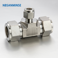 5Pcs/Lot RUT 18 12 08 04 08 06 Coupling Connector Union Tee Stainless Steel SS316L Plumbing Pneumatic Air Fitting Sanmin