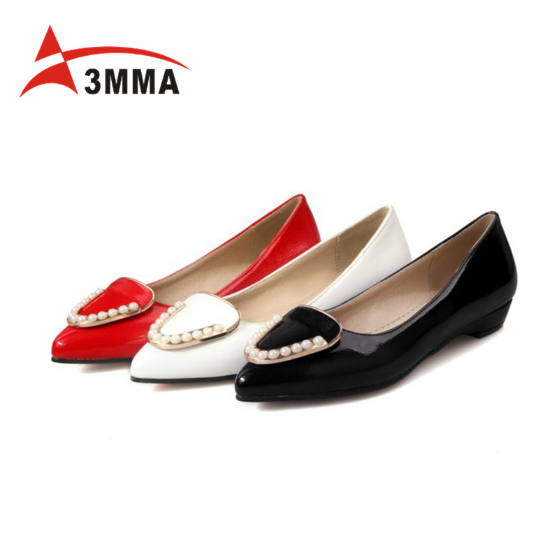 3MMA Spring Pointed Toe Women Ballerina Flats Simple Office Ladies Dress Shoes Metal Decoration Slip on