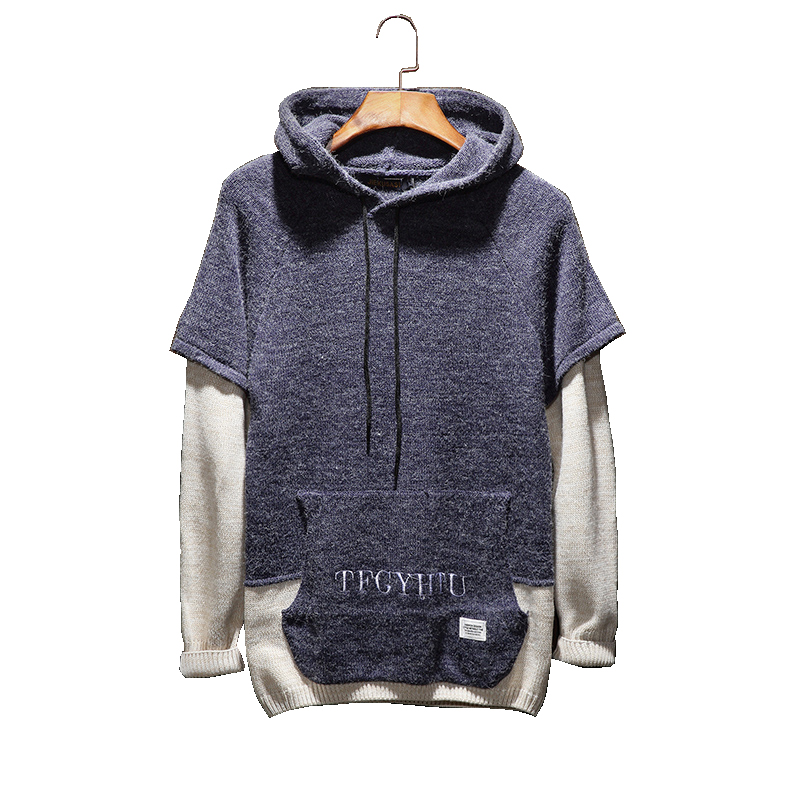 Autumn Winter Hooded Jacket Men Warm Casual Hooded Sweater Stitching Letter Design Fake Two Piece Patchwork Sleeve Sweaters