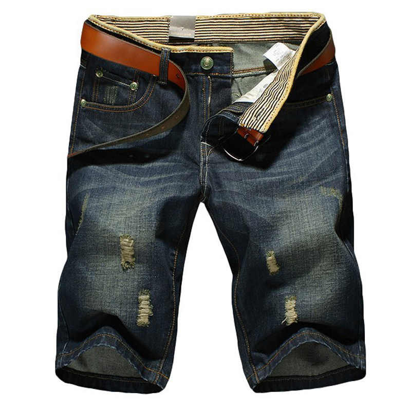 Fashion Brand Summer Casual Cotton Men Short   Jeans   Men's Bermuda Boardshorts   Jeans   Shorts Men s Ripped Plus Size 28-36