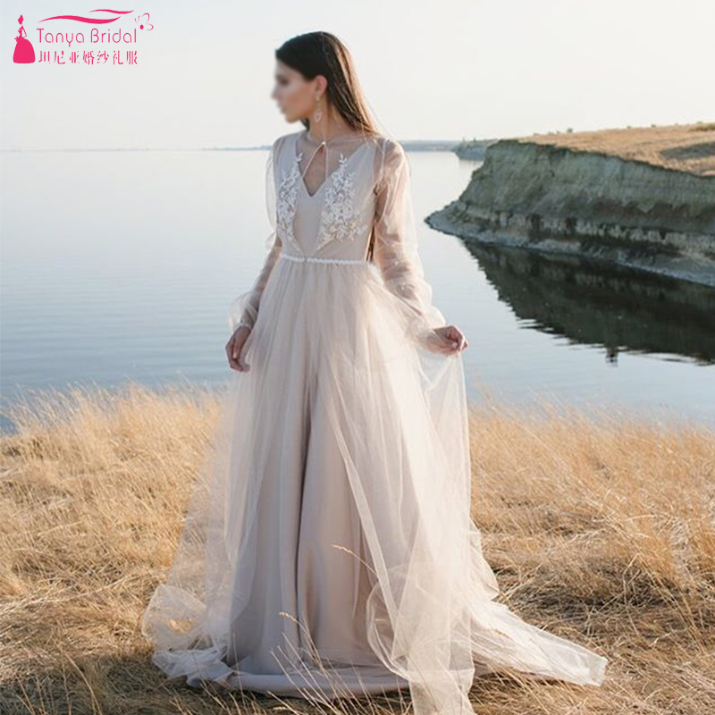 Nude Lining Tulle Wedding Dresses Sheer Sleeve Boho Bridal Gowns Two Pieces With Long Jacket Bridal Gowns Nice Noivas  ZW160