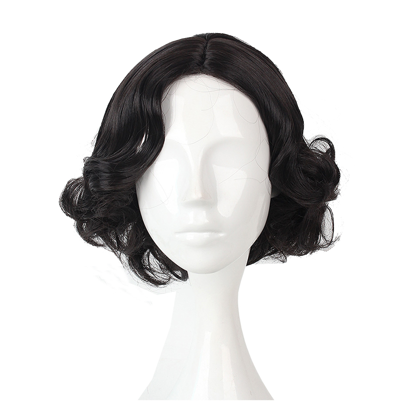 Anime Princess Snow White Short Black Curly Wig Cosplay Costume Schneewittchen Women Synthetic Hair Halloween Party Wigs
