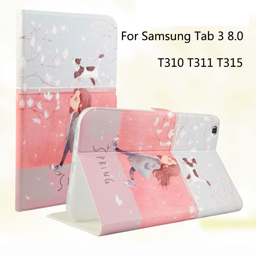 Tablet Väska till Samsung Galaxy Tab 3 8,0 SM-T310 T311 T315 Smart Case Cover Cartoon Skriv ut Silikon TPU + PU Skinn Shell Funda