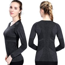 Women's Outdoor Training and Fitness Running Yoga T-shirt Long Sleeved Sports Tops Fast Drying Sports Wear