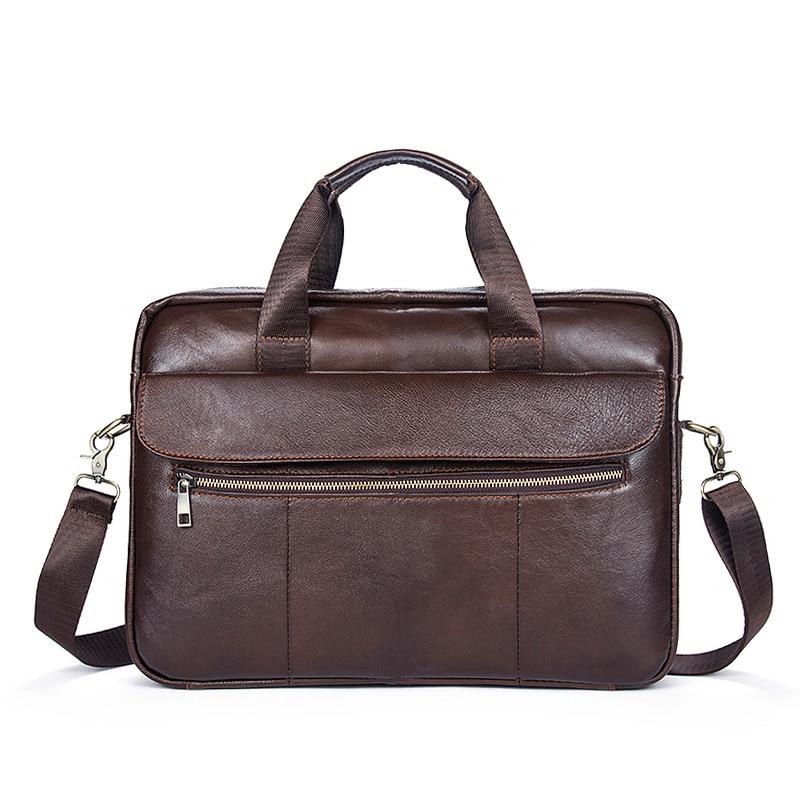100% Cow Genuine Leather Men Briefcase Vintage Business Handbag Male Laptop Shoulder Bags Tote Computer Natural Skin Briefcase