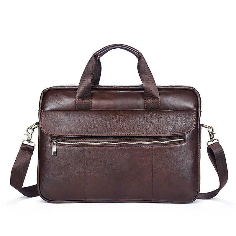 Maletín de cuero genuino de vaca 100% para hombre, bolso de negocios Vintage, bolsos de hombro para ordenador portátil, maletín de piel Natural para ordenador