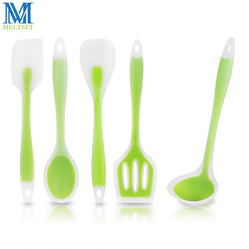 Meltset Food Grade Silicone Kithenware 5pcs Cooking Tool Set Non-stick Spatula Cooking Spoon Soup Ladle Turner Kitchen Utensils