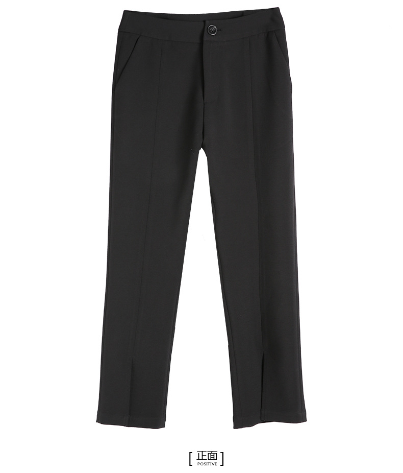 bootyjeans spring 2018 new European high-end women's slim black all-match split ankle length pants casual bottom pants 36