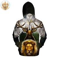Leaders of the Earth by KhaliaArt Animal 3D Printed Zipper Hoodies Men Unisex Sweatshirts Brand Hoodie Lion Hot Sale Pullover Tr