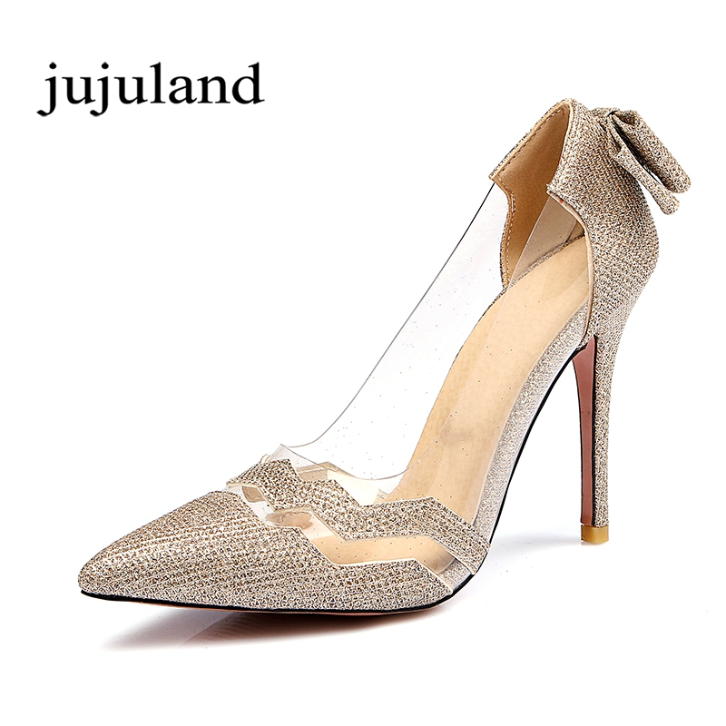 Spring/Autumn Women Shoes Pumps Thin High Heels Pointed Toe Casual Fashion Party Slip-On Shallow Sexy Butterfly-knot Transparent 2017 spring sexy women pumps genuine leather butterfly knot woman shoes pointed toe high heels footwear party pumps size 33 43