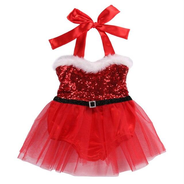 Newborn Toddler Baby Girls Rompers Santa Tutu Dress Christmas Outfits  Costume Size 0-3T - Newborn Toddler Baby Girls Rompers Santa Tutu Dress Christmas