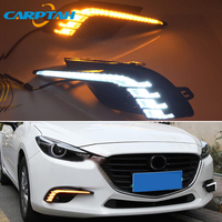 LED Daytime Running Light For Mazda 3 Axela 2017 2018 Waterproof 12V Yellow Turn Signal Indicator Light Bumper Lamp LED DRL