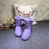 GXLLD Hot Sale Shoes Women Boots Fur Integrated Copper Buck Boots Solid Slip On Soft Cute