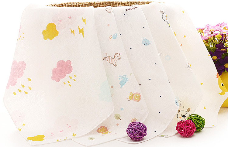 10PCS/lot Cartoon Cotton Gaze Towels Soft Baby Towel Handkerchief For Infant Kid Children Feeding Bathing Face Washing 25*25cm