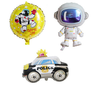 Boy Birthday Party Decoration Aluminium Foil Balloons Cool Car Space Man Big Toy For Kids Fashion Balony image