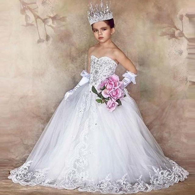 847431a88 Blanco Princesa Vestidos Del Desfile Para Chicas Glitz 2017 Vestido de dama  de Honor Junior Vestidos de Niña de Lujo Niñas Vestidos Del Desfile en ...