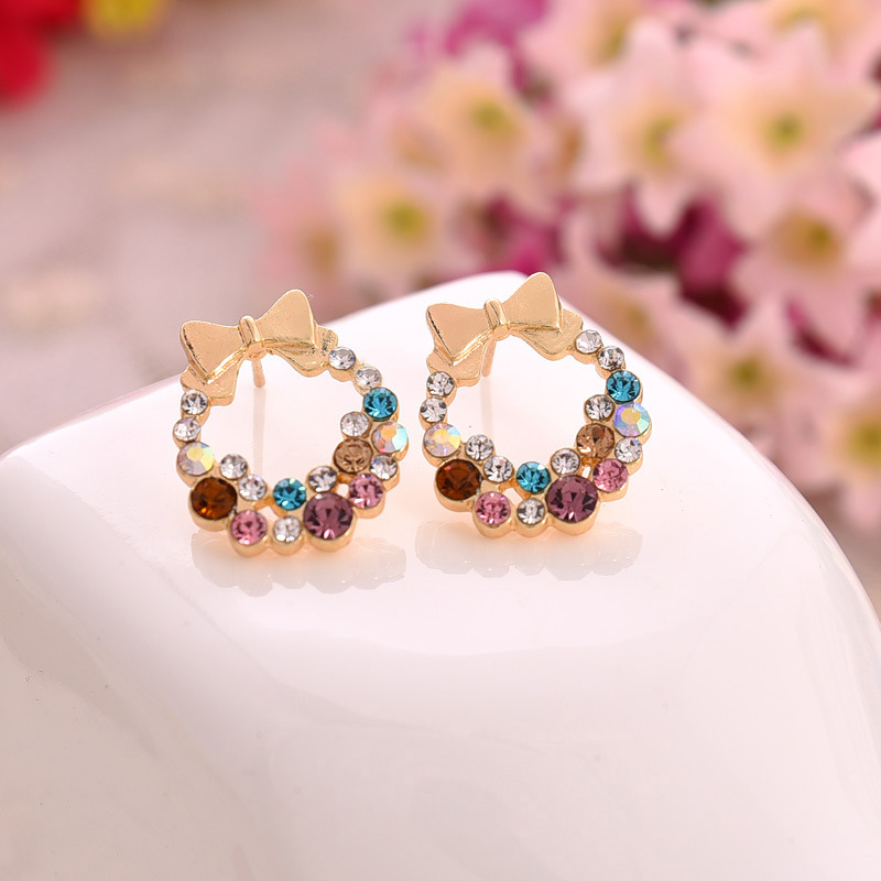 Earrings Jewelry & Accessories New Fashion New Fashion Designer Jewelry Colorful Rhinestone Imitation Pearl Butterfly Bow Stud Earrings For Women Brincos