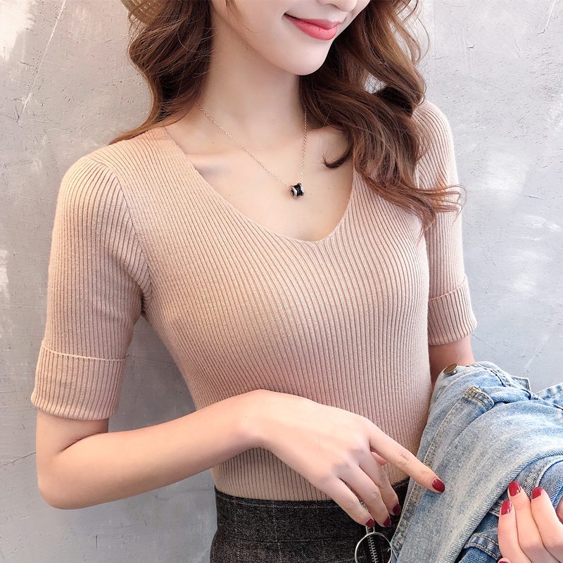 2019 New Sweater Female V-neck Sleeve 3275-Actual-Short Sleeve V-neck Knitting Sleeve Area 24B 9]