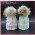 Crianças Do Bebê Da Menina do Menino 100% Real Natural Pele De Guaxinim Pom Pom Cabo Crochet Knit Cap Chapéu Do inverno Pompom Crianças Gorros de Esqui Quente Cap