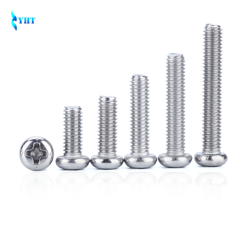 GB818 M1.6 M2 M2.5 M3 M4 M5 M6 ISO7045 DIN7985 304 Stainless Steel Cross Recessed Pan Head PM Screws Phillips Screws SUS304 hot 50pcs m2 m2 5 m3 m4 iso7045 din7985 gb818 304 stainless steel cross recessed pan head screws phillips screws