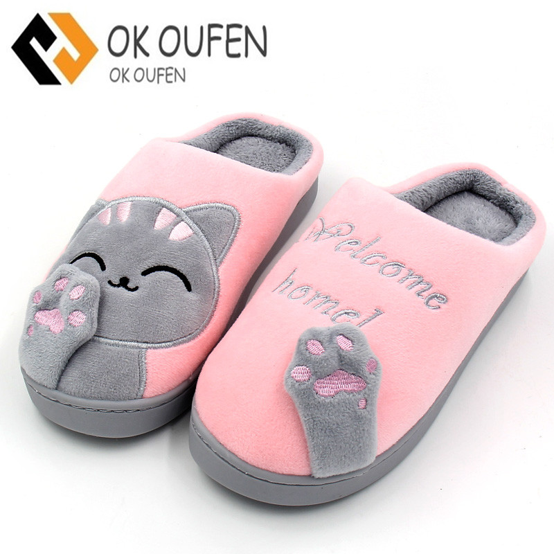 Women Winter Home Slippers Cartoon Cat Home Shoes Non-slip Soft Winter Warm Slippers Indoor Bedroom Loves Couple Floor Shoes