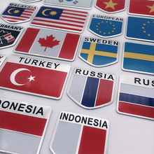 Алюминиевый сплав Америка Франция Англия национальные флаги Автомобиль Стайлинг Мотоцикл стикеры для багажа эмблема знак, наклейка на автомобиль